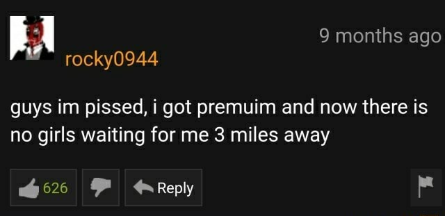 BA rocky0944 9 months ago rocky0944 guys im pissed, i got premuim and now there is no girls waiting for me 3 miles away Reply memes