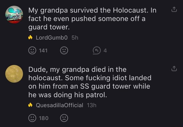 My grandpa survived the Holocaust. In fact he even pushed someone off a guard tower. LordGumb0 Dude, my grandpa died in the holocaust. Some fucking idiot landed on him from an SS guard tower while he was doing his patrol. QuesadillaOfficial OREC EEG meme