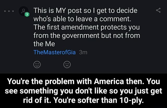 This is MY post so I get to decide who's able to leave a comment. The first amendment protects you from the government but not from the Me You're the problem with America then. You see something you do not like so you just get rid of it. You're softer than 10 ply. You're the problem with America then. You see something you do not like so you just get rid of it. You're softer than 10 ply memes