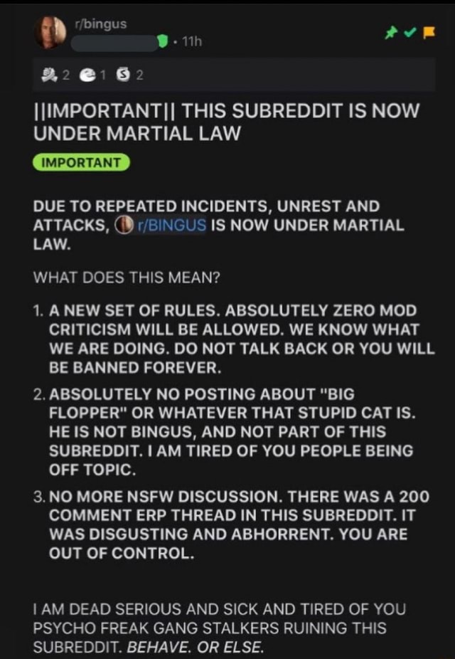 IIIMPORTANTII THIS SUBREDDIT IS NOW UNDER MARTIAL LAW IMPORTANT DUE TO REPEATED INCIDENTS, UNREST AND ATTACKS, 19 IS NOW UNDER MARTIAL LAW. WHAT DOES THIS MEAN 1. ANEW SET OF RULES. ABSOLUTELY ZERO MOD CRITICISM WILL BE ALLOWED. WE KNOW WHAT WE ARE DOING. DO NOT TALK BACK OR YOU WILL BE BANNED FOREVER. 2. ABSOLUTELY NO POSTING ABOUT BIG FLOPPER OR WHATEVER THAT STUPID CAT IS. HE IS NOT BINGUS, AND NOT PART OF THIS SUBREDDIT. I AM TIRED OF YOU PEOPLE BEING OFF TOPIC. 3. NO MORE NSFW DISCUSSION. THERE WAS A 200 COMMENT ERP THREAD IN THIS SUBREDDIT. IT WAS DISGUSTING AND ABHORRENT. YOU ARE OUT OF CONTROL. I AM DEAD SERIOUS AND SICK AND TIRED OF YOU PSYCHO FREAK GANG STALKERS RUINING THIS SUBREDDIT. BEHAVE. OR ELSE meme