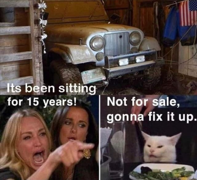 Lis been sitting for 15 years Not fer sale, gonna fix it up memes