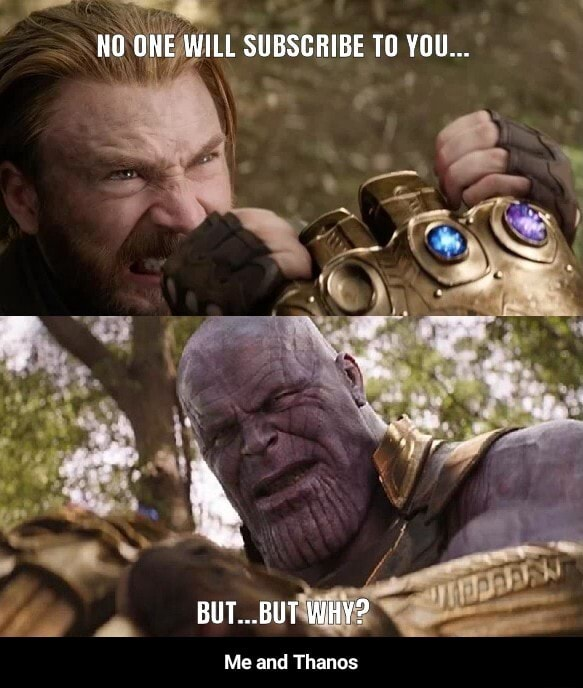 NO ONE WILL SUBSCRIBE TO YOU BUT BUT WHY Me and Thanes Me and Thanos meme