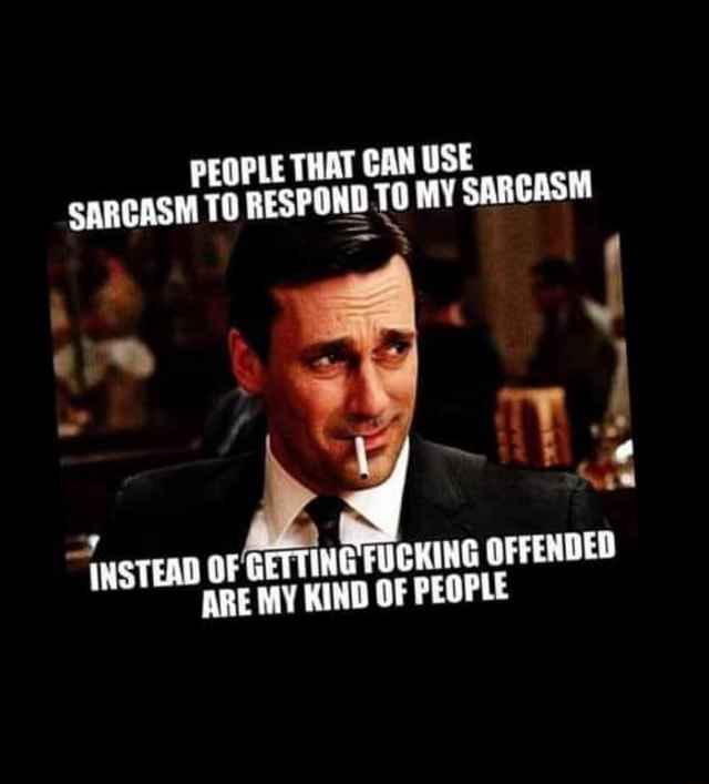 PEOPLE THAT CAN USE SARCASM TO RESPOND TO MY SARCASM ae INSTEAD OF GETTING FUCKING OF OFFENDED ARE MY KIND OF PEOPLE meme