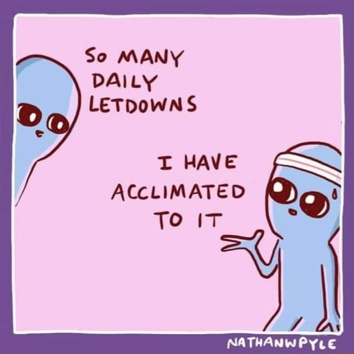 So MANY DAILY LETDOWNS T HAVE ACCLIMATED To NATHANWPYLE meme