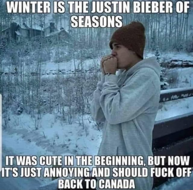 WINTERS THE JUSTIN BIEBER OF SEASONS IT. THEBEGINNING, BUT NOW FUCK OFF ITS SHOULD FUCK OFF BACK TOCANADA memes