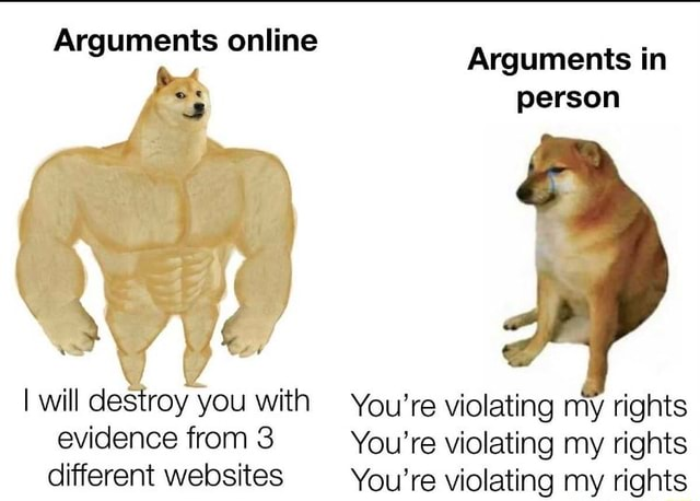 Arguments online Arguments in person I will destroy you from with You're You're violating violating my my rights rights evidence from 3 You're violating my rights different websites You're violating my rights meme