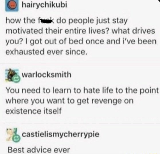 How the fuak do people just stay motivated their entire lives what drives you I got out of bed once and i've been exhausted ever since. warlocksmith You need to learn to hate life to the point where you want to get revenge on existence itself castielismycherrypie Best advice ever memes