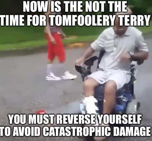 NOW IS THE NOT THE TIME FOR TOMFOOLERY TERRY YOU MUST REVERSE. YOURSELF TO AVOID CATASTROPHIC DAMAGE memes