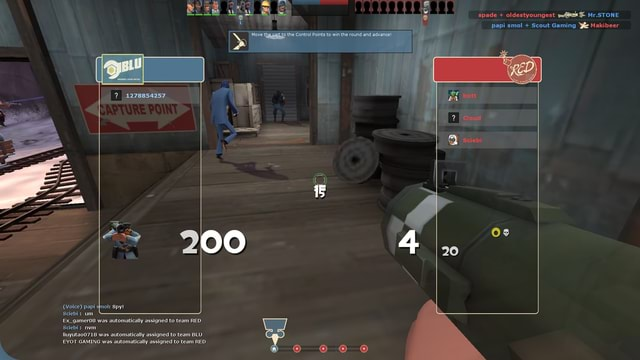 Spy  Voice papi um Ex gameros was automatically assigned to team RED lluyutao07168 was automatically assigned to team BLU EYOT GAMING was automatically assigned to team RED the cart te the Control Points to 1278854257 Mr.STONE papi sol Scout Gaming Ye Makibeer Os 20 in the round and ad. ance memes