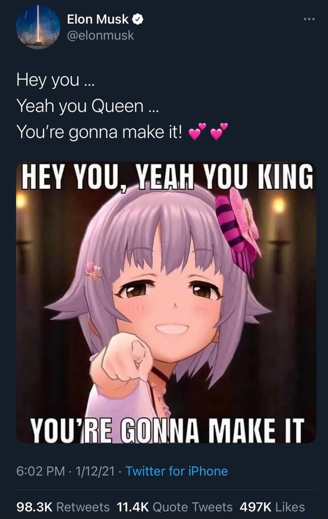 Elon Musk elonmusk Hey you Yeah you Queen You're gonna make it HEY YOU, YEAH YOU KING Le NY YOU'RE GONNA MAKE IT PM Twitter for iPhone 98.3K 11.4K 497K meme