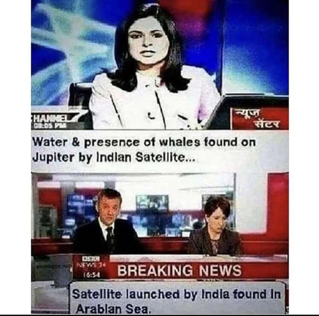 Water and presence ot whales found on Jupiter by Indlan Satellite BREAKING NEW Satellite launched by India found In Arablan Sea meme