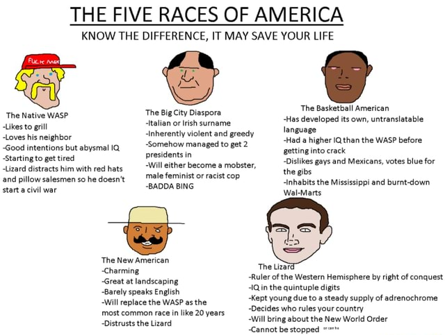 THE FIVE RACES OF AMERICA KNOW THE DIFFERENCE, IT MAY SAVE YOUR LIFE The Native WASP Likes to grill Loves his neighbor Good intentions but abysmal IQ Starting to get tired Lizard distracts him with red hats and pillow salesmen so he doesn't start a civil war The Big City Diaspora Italian or Irish surname Inherently violent and greedy Somehow managed to get 2 presidents in Will either become a mobster, male feminist or racist cop BADDA BING The New American Charming Great at landscaping Barely speaks English Will replace the WASP as the most common race in like 20 years Distrusts the Lizard The Lizard Ruler of the Western Hemisphere by right of conquest IQ in the quintuple digits Kept young due to a steady supply of adrenochrome Decides who rules your country Will bring about the New World