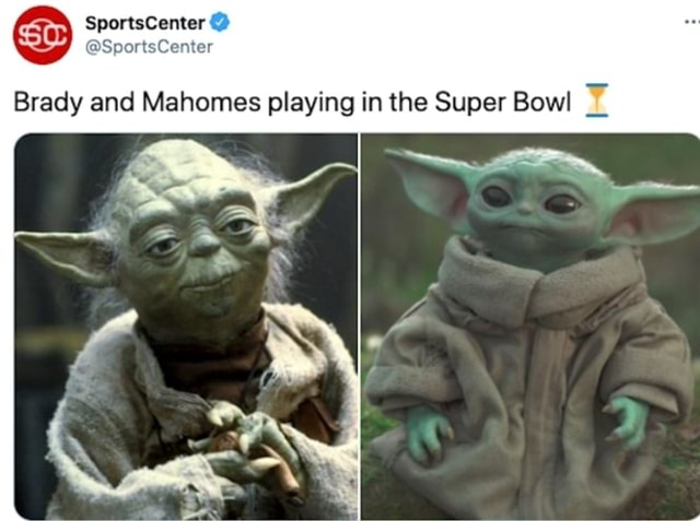SportsCenter Center Brady and Mahomes playing in the Super Bowl memes