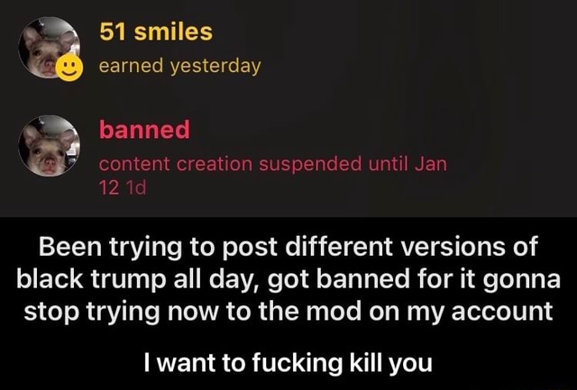 51 smiles earned yesterday banned content creation suspended until Jan 12 Been trying to post different versions of black trump all day, got banned for it gonna stop trying now to the mod on my account want to fucking kill you  I want to fucking kill you memes