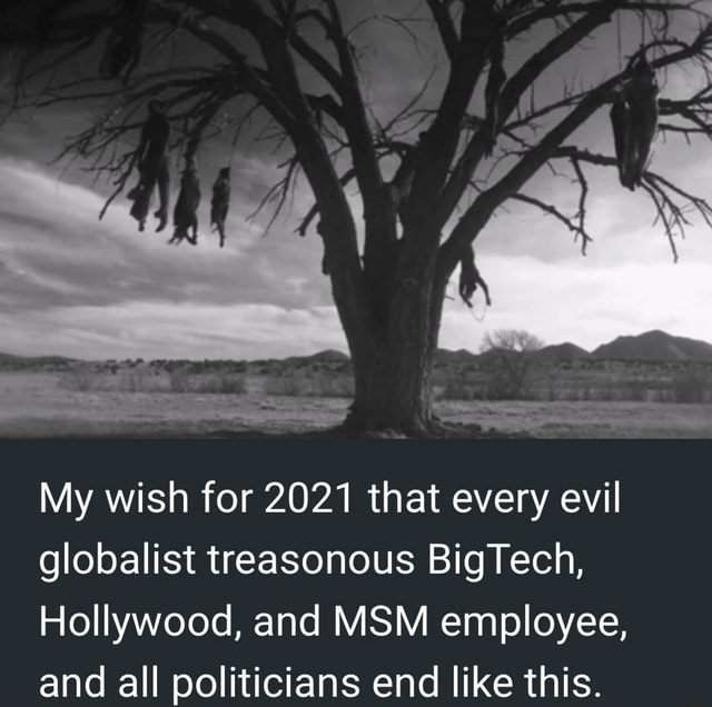My wish for 2021 that every evil globalist treasonous BigTech, Hollywood, and MSM employee, and all politicians end like this memes