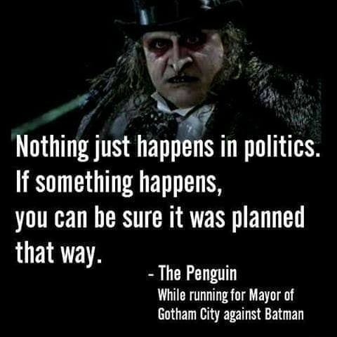 Nothing just happens in politics. if something happens, you can be sure it was planned that way. The Penguin While running for Mayor of Gotham City against Batman memes
