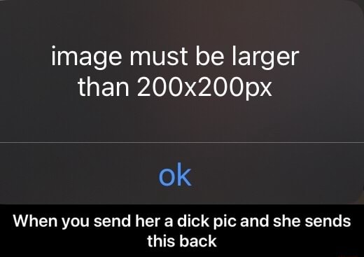 Image must be larger than 200x200px ok When you send her a dick pic and she sends this back When you send her a dick pic and she sends this back memes