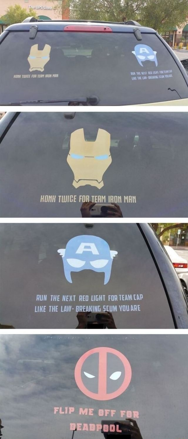 THE TWHCE FoR TERM nON MAN HONK TWIGE FOR TEAM IRON MAN RUN THE NEXT REO LIGHT FOR TEAM CAP LIKE THE LAW BREAKING SCUM YOU ARE FLIP ME OFF FoR memes