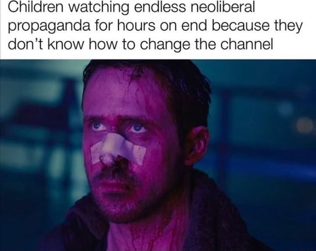 Children watching endless neoliberal propaganda for hours on end because they do not know how to change the channel memes
