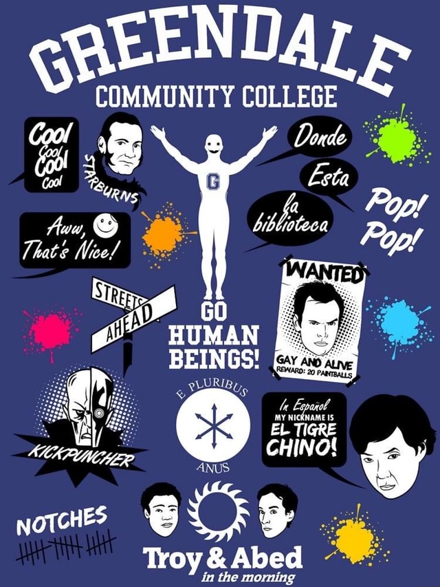 COMMUNITY COLLEGE Cool Doude Cool, EtQ Pp, biblinteca Jhate Nee Fop 20 EL Tieke CHINO NOTCHES Troy  and  Abed the morning nthe morning meme