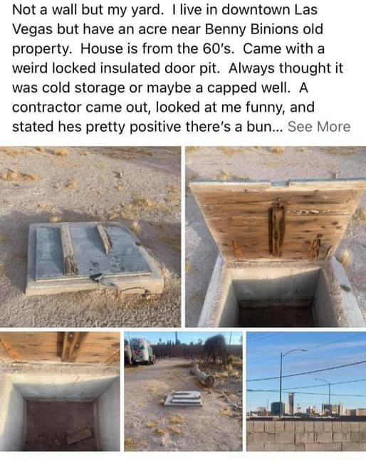 Not a wall but my yard. I live in downtown Las Vegas but have an acre near Benny Binions old property. House is from the 60's. Came with a weird locked insulated door pit. Always thought it was cold storage or maybe a capped well. A contractor came out, looked at me funny, and stated hes pretty positive there's a bun See More memes