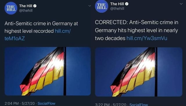 THE The Hill  The Hill  HILL  thehill thehill Anti Semitic crime in Germany at CORRECTED Anti Semitic crime in highest level recorded hill.cm Germany hits highest level in nearly teM10AZ two decades LG PM   SocialFlow PM. SacialElow memes
