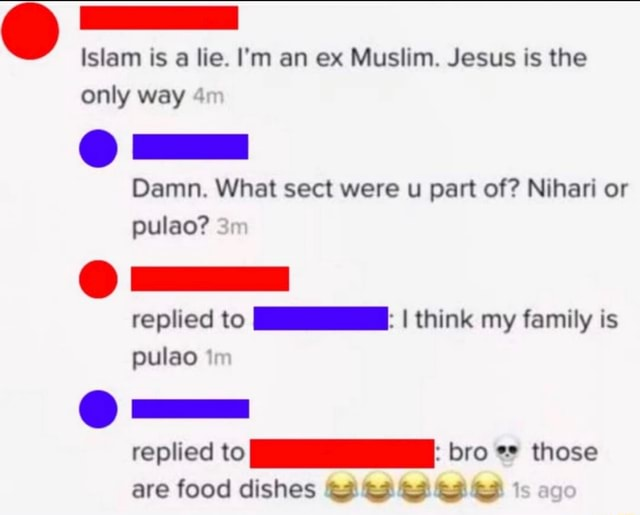 Islam is a lie. I'm an ex Muslim. Jesus is the only way ZZ Damn. What sect were u part of Nihari or pulao replied to I think my family is pulao im replied to bro those are food dishes GF GF ag memes