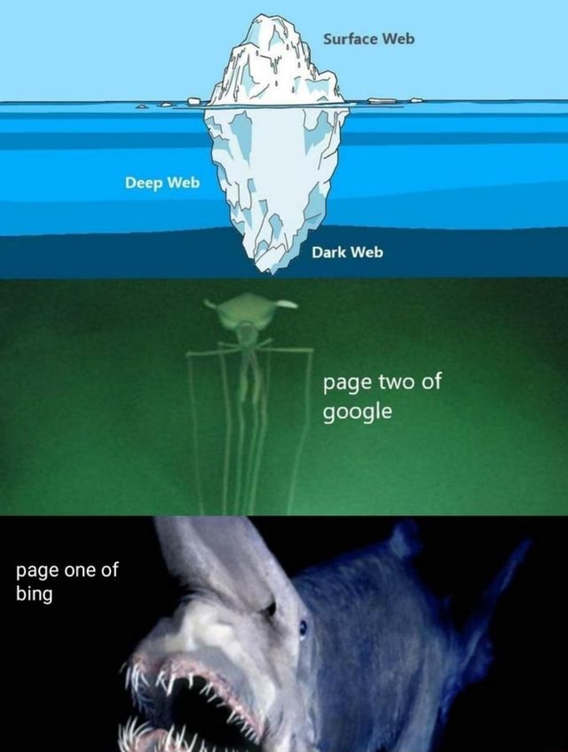 Surface Wels Deep Dark Web page two of google page one of bing memes