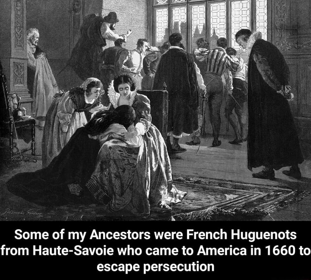 Some of my Ancestors were French Huguenots from Haute Savoie who came to America in 1660 to escape persecution Some of my Ancestors were French Huguenots from Haute Savoie who came to America in 1660 to escape persecution meme