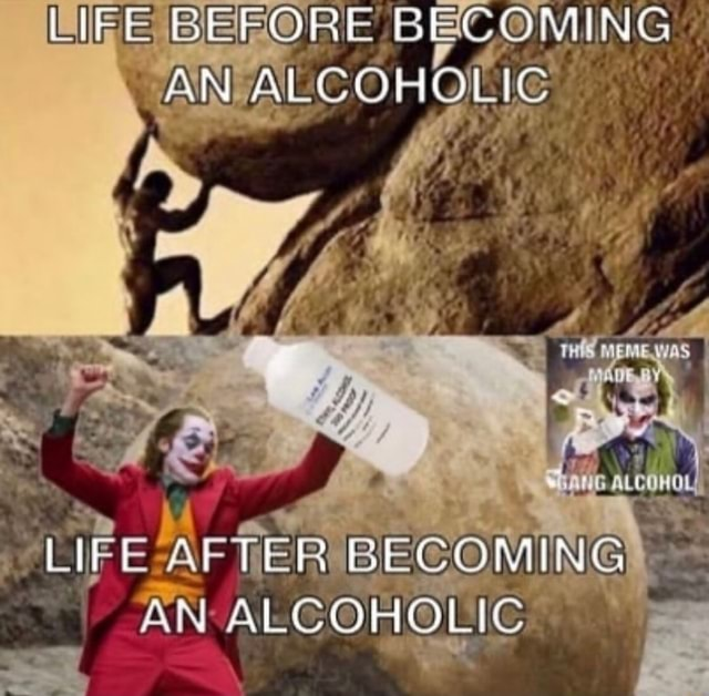 LIFE BEFORE BECOMING AN ALCOHOLIC LIFE AFTER BECOMING AN ALCOHOLIC meme