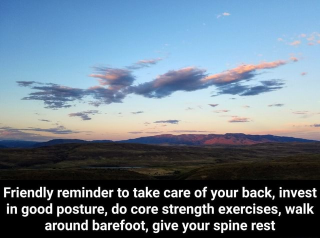 Friendly reminder to take care of your back, invest in good posture, do core strength exercises, walk around barefoot, give your spine rest  Friendly reminder to take care of your back, invest in good posture, do core strength exercises, walk around barefoot, give your spine rest memes