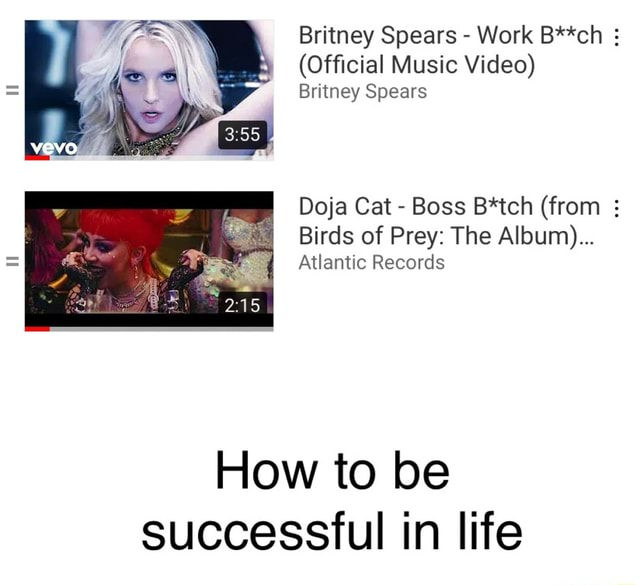 Britney Spears Work B**ch Official Music Britney Spears Doja Cat Boss B*tch from Birds of Prey The Album Atlantic Records How to be successful in life memes