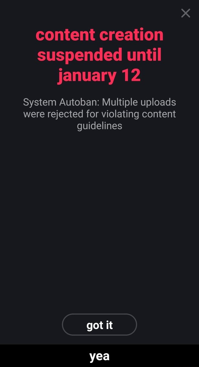Content creation suspended until january 12 System Autoban Multiple uploads were rejected for violating content guidelines got it yea yea meme