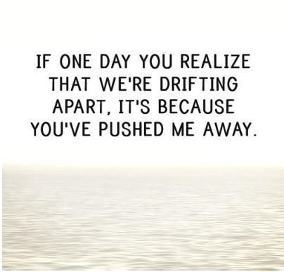 IF ONE DAY YOU REALIZE THAT WE'RE DRIFTING APART, IT'S BECAUSE YOU'VE PUSHED ME AWAY memes