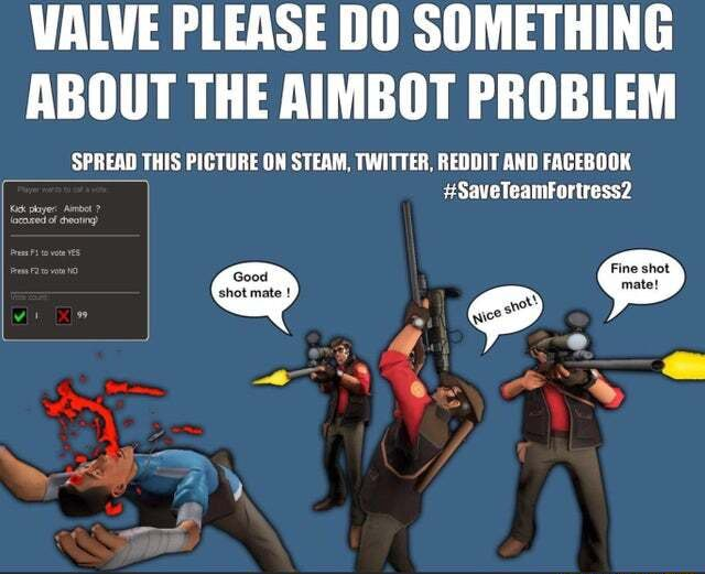 VALVE PLEASE DO SOMETHING ABOUT THE AIMBOT PROBLEM SPREAD THIS PICTURE ON STEAM, TWITTER, REDDIT AND FACEBOOK SaveTeamFourtress2 memes
