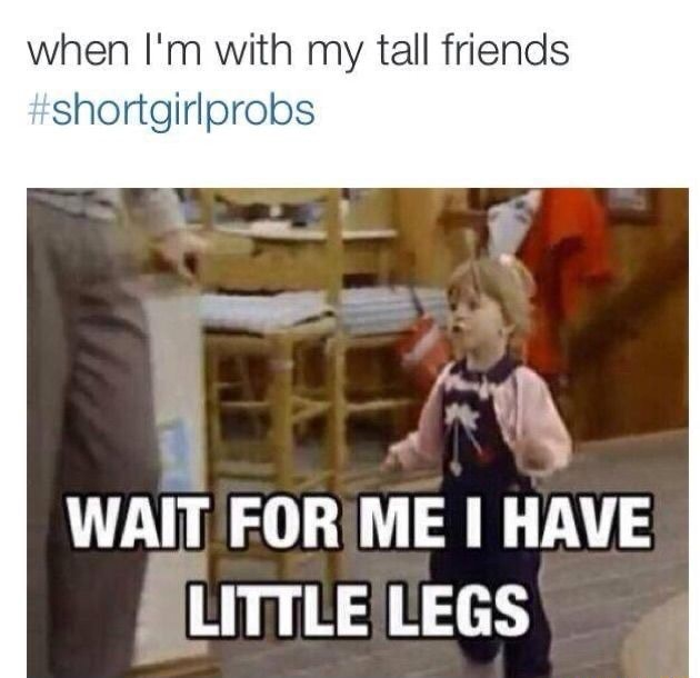 When I'm with my tall friends shortgirlprobs WAIT FOR ME I HAVE LEGS meme