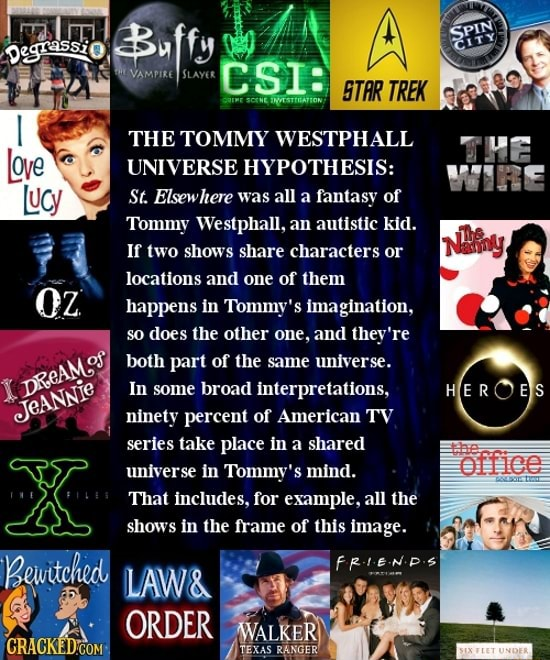 THE TOMMY WESTPHALL UNIVERSE HYPOTHESIS St. Elsewhere was all a fantasy of Tommy West an autistic kid. If two shows share characters or locations and one of them happens in Tommy's imagination, so does the other one, and they're both part of the same universe. In some broad interpretations, ninety percent of American TV series take place in a shared universe in Tommy's mind. That includes, for example, all the shows in the frame of this image. LAW and  ORDER meme
