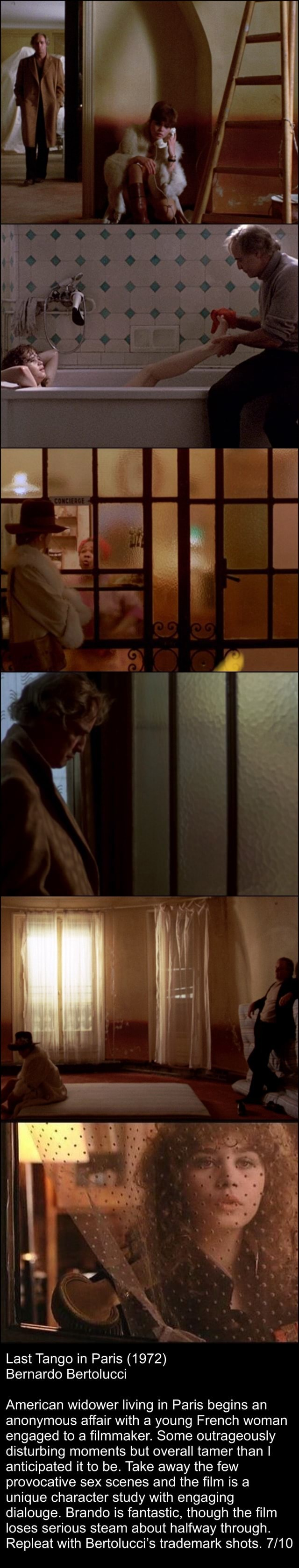 Last Tango in Paris 1972 Bernardo Bertolucci American widower living in Paris begins an anonymous affair with a young French woman engaged to a filmmaker. Some outrageously disturbing moments but overall tamer than I anticipated it to be. Take away the few provocative sex scenes and the film is a unique character study with engaging dialouge. Brando is fantastic, though the film loses serious steam about halfway through. Repleat with Bertolucci's trademark shots memes
