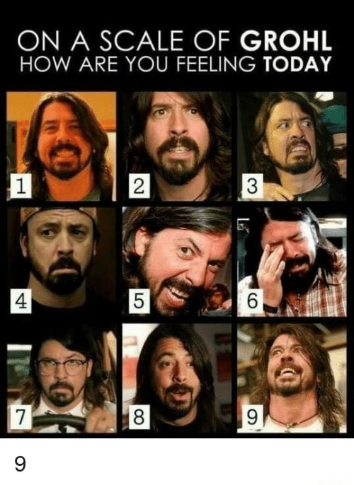 ON A SCALE OF GROHL HOW ARE YOU FEELING TODAY Lon memes