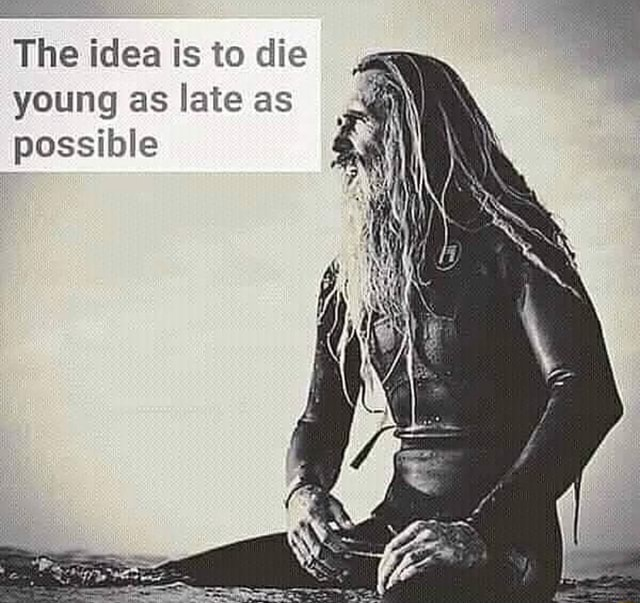The idea is to die young as late as possible memes