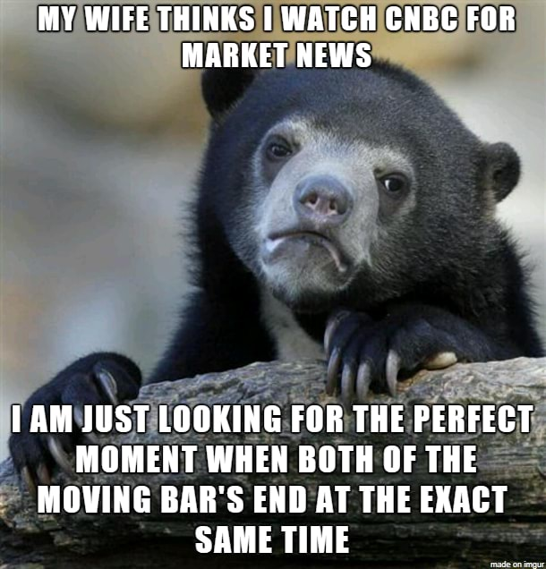 MY WIFE THINKS I WATCH CNBC FOR MARKET NEWS an JUST LOOKING FOR THE PERFECT MOMENT WHEN BOTH OF THE MOWING BAR'S END AT THE EXACT SAME TIME memes