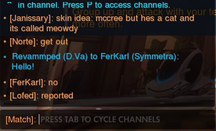 In channel. Press P to access channels.  Janissary  skin idea mecree but hes a cat and its called meowdy Norte} get ott  Revammped D.Va to FerKarl Symmetra  Hello  Ferkarl  no Lofed} reported meme