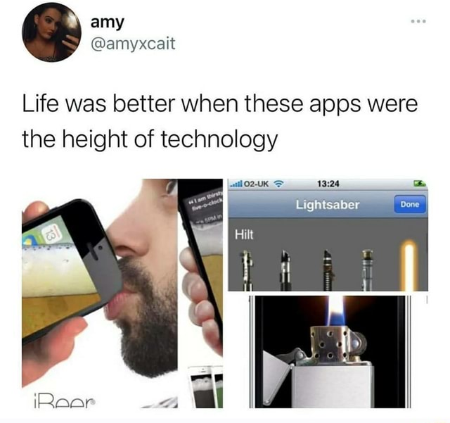 SJ amyxcait Life was better when these apps were the height of technology Lightsaber AN meme