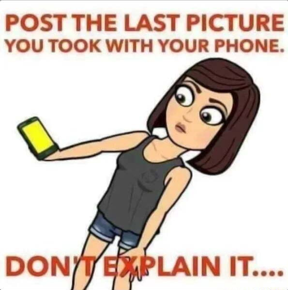 POST THE LAST PICTURE YOU TOOK WITH YOUR PHONE. DON meme