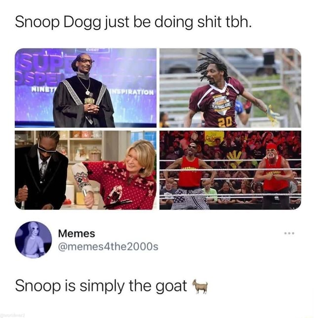 Snoop Dogg just be doing shit ton. Memes Snoop is simply the goat