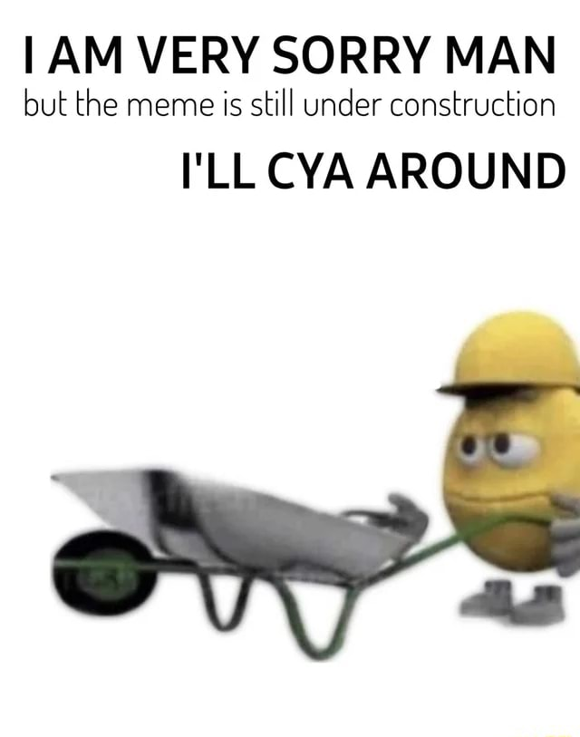 AM VERY SORRY MAN but the meme is still under construction I'LL CYA AROUND Cony
