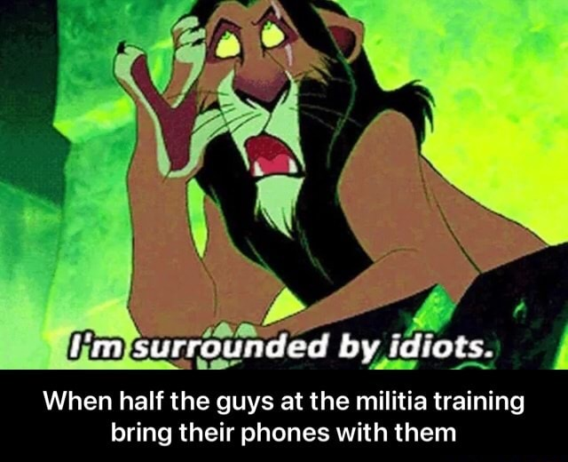 Ss I'm surrounded by idiots. When half the guys at the militia training bring their phones with them  When half the guys at the militia training bring their phones with them meme