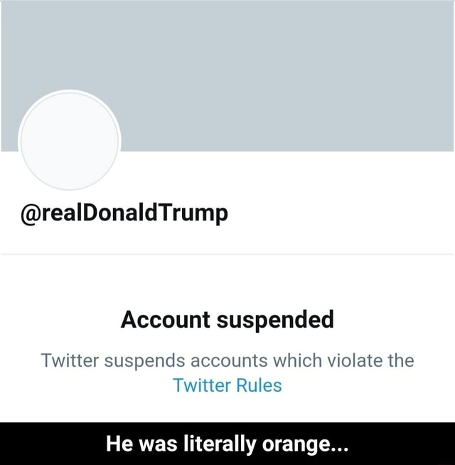 Reall Donald Trump Account suspended Twitter suspends accounts which violate the Twitter Rules He was literally orange He was literally orange meme