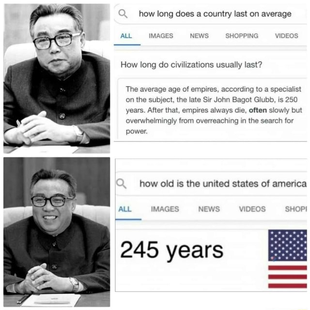 How long does a country last on average ALL IMAGES NEWS SHOPPING How long do civilizations usually last The average age of empires, according to a specialist on the subject, the late Sir John Bagot Glubb, is 250 years. After that, empires always die, often slowly but overwhelmingly from overreaching in the search for power. how old is the united states of america ALL IMAGES NEWS SHOPI 245 years memes