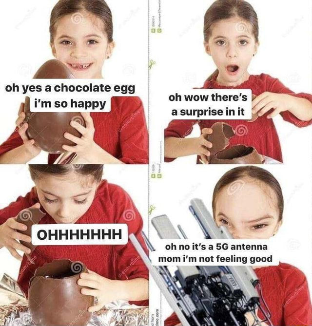 Oh yes a chocolate egg i'm so happy oh wow there's asurprise init a surprise in it OHHHHHHH oh no it's a antenna mom i'm not feeling good memes
